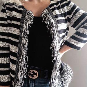 Vintage Striped Tweed Lookalike Jacket w/ Fringe